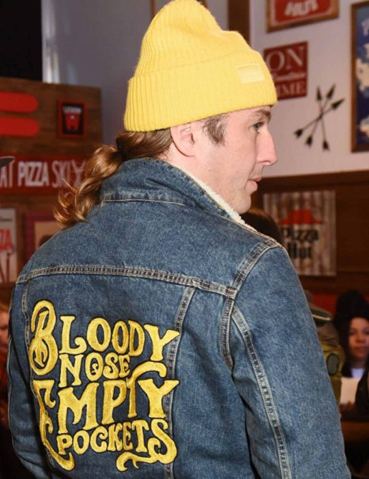 bloody nose empty pockets blue jacket with patch