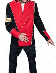 double breasted michael jackson red cotton jacket