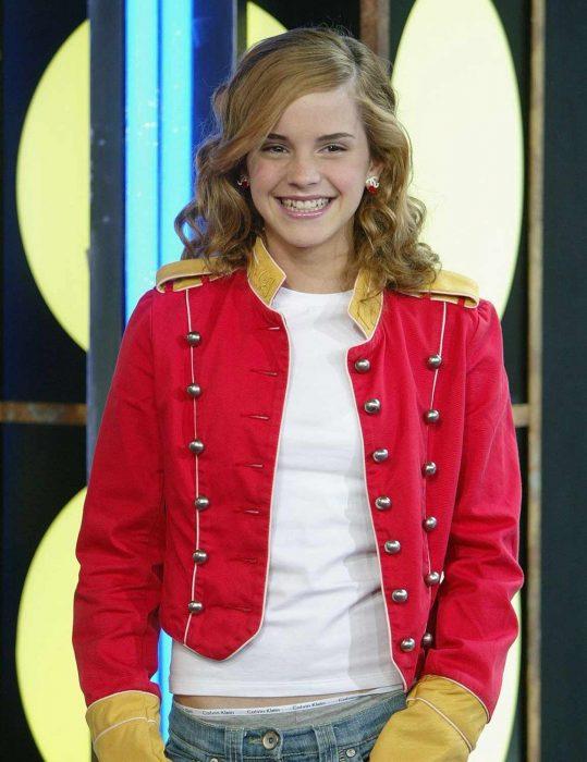 emma watson red military jacket
