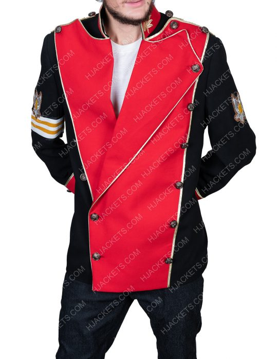michael jackson double breasted red cotton jacket