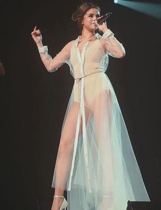 revival tour song feel me selena gomez white sheer dress
