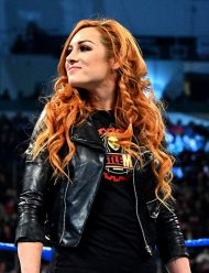 wwe superstar becky lynch black leather jacket