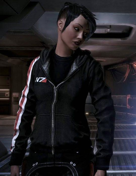 jennifer hale mass effect 3 n7 commander shepard female hooded jacket
