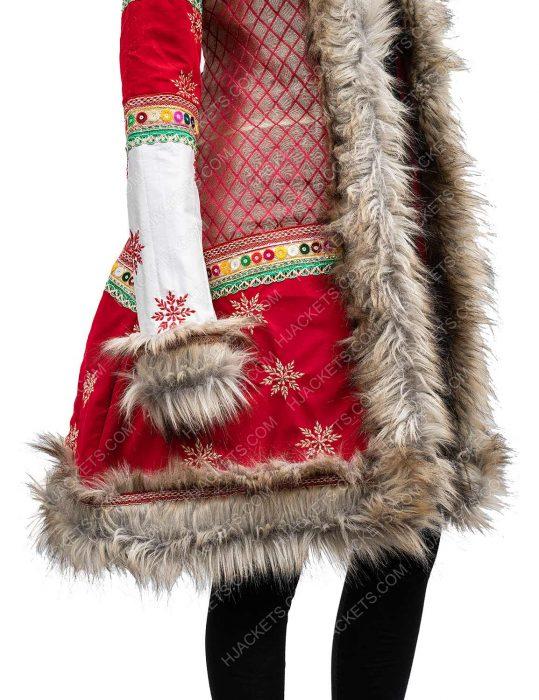 noelle anna kendrick noelle kringle shearling christmas coat