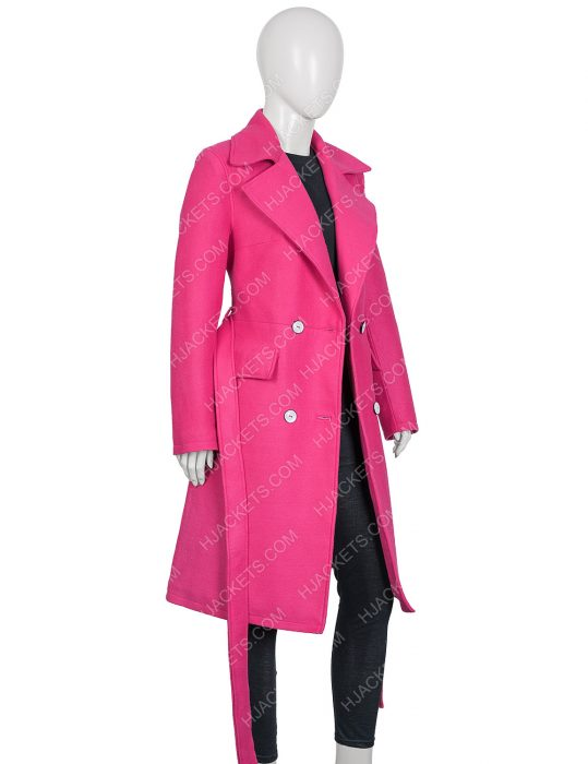 Emily in Paris Lily Collins Long Trnch Pink Coat