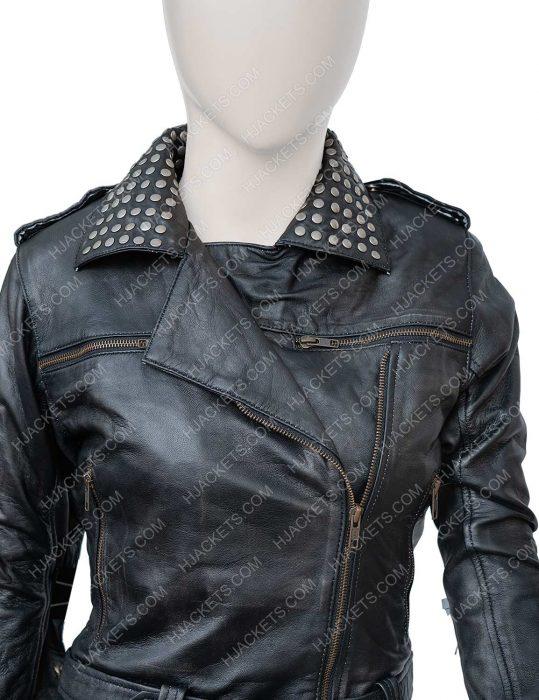 Maggie Civantos Vis a Vis El Oasis Macarena Ferreiro Leather Jacket