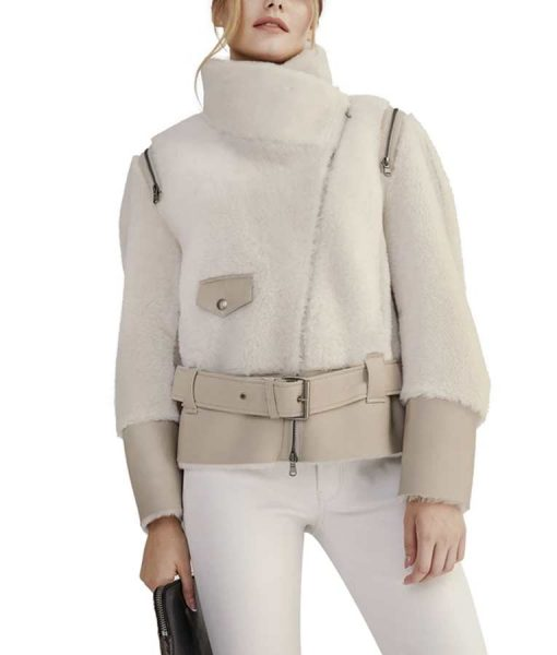 White-Shearling-Short-Biker With-Leather-Belt-Jacket