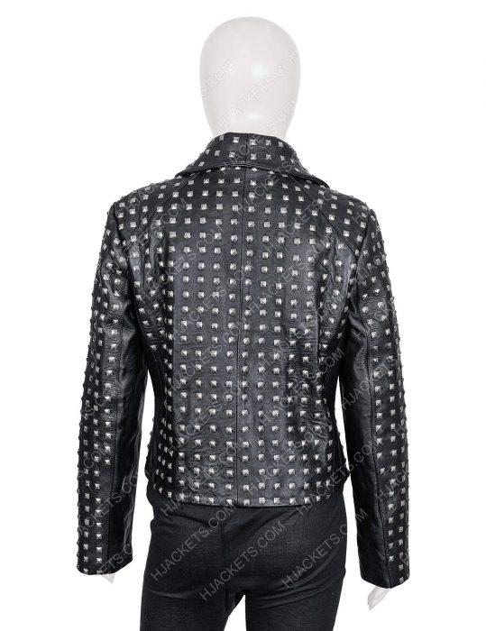rhobh kyle richards studded black leather jacket
