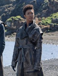 star trek discovery sonequa martin-green leather coat