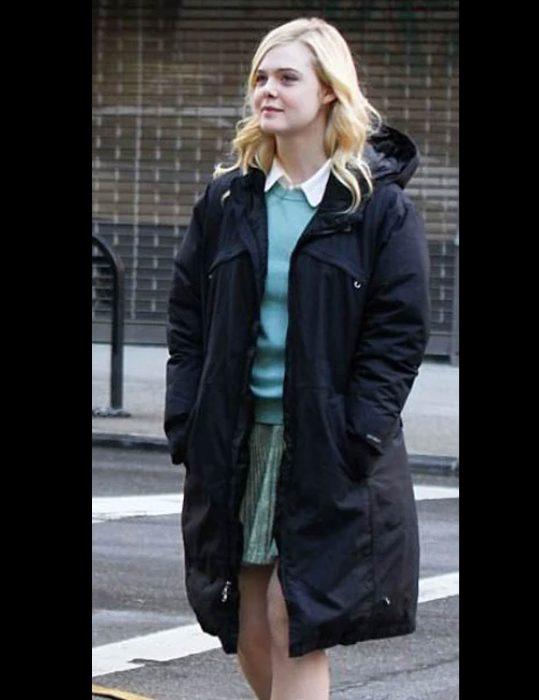 A Rainy Day in New York Elle Fanning Black Coat