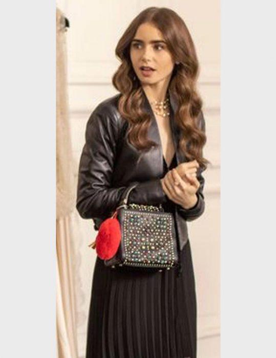 Emily-Cooper-Black-Leather-Jacket