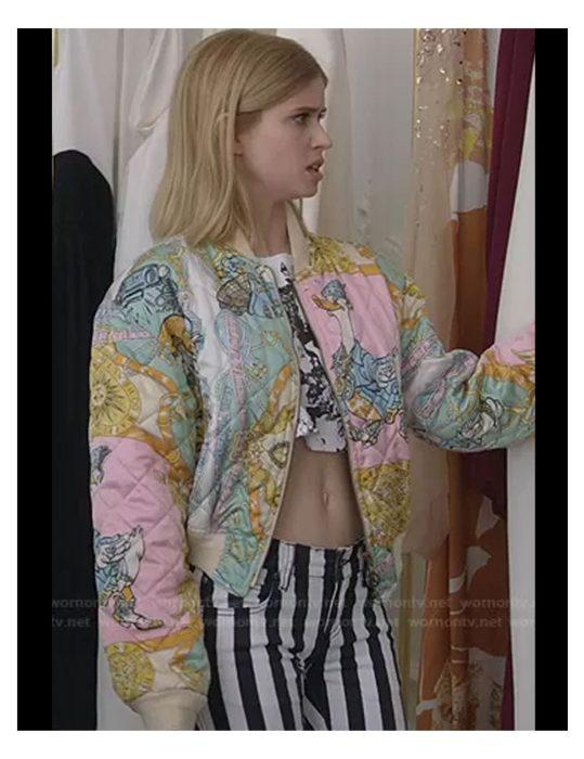 Emily-In-Paris-Brooklyn-Clark's-Print-Bomber-Jacket