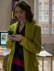 Emily-In-Paris-Emily-Cooper-Green-Wool-blend-Coat