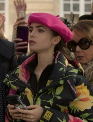 Emily-In-Paris-Lily-Collins-Floral-Puffer-Jacket