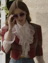 Emily-In-Paris-Lily-Collins-Red-Plaid-Jacket