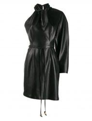 Kourtney-Kardashian-Black-Leather-Dress