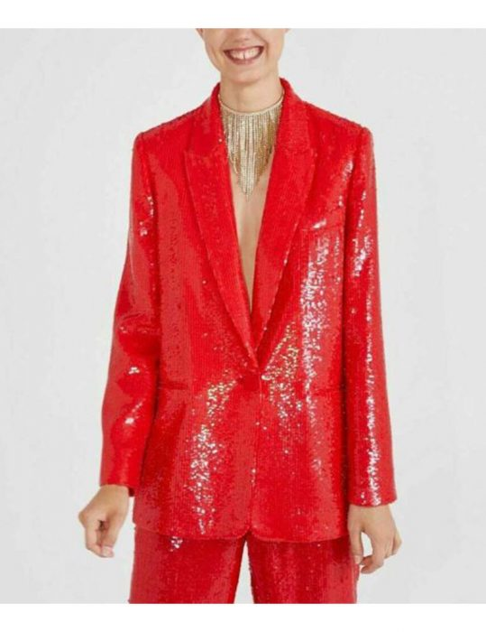 Lily-Collins-Red-Sequin-Blazer