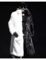 Mens Fur Thickening Over Knee Coat