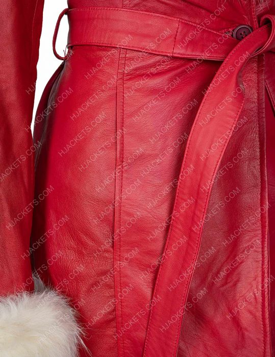 Mrs. Claus The Christmas Chronicles Fur Hooded Leather Jacket