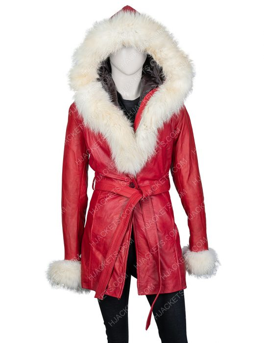Mrs. Claus The Christmas Chronicles Goldie Hawn Fur Hooded Leather Jacket