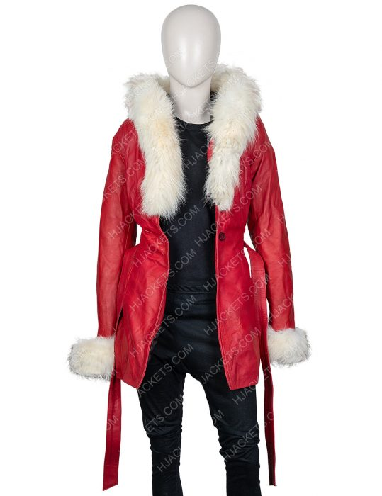 Mrs. Claus The Christmas Chronicles Goldie Hawn Hooded Leather Jacket