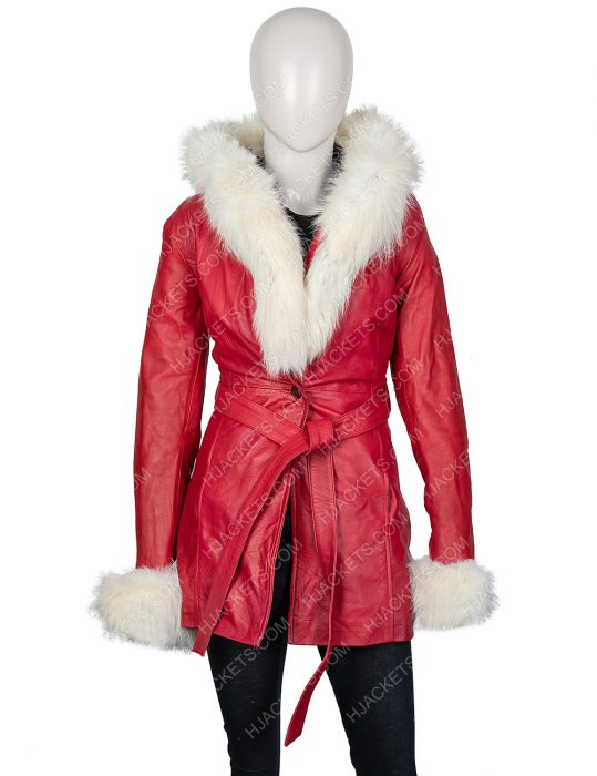 The Christmas Chronicles Goldie Hawn Fur Hooded Leather Jacket