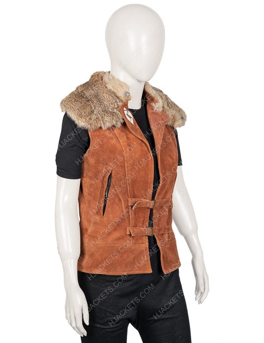 Zombies 2 Ariel Martin Brown Leather Wynter Fur Vest