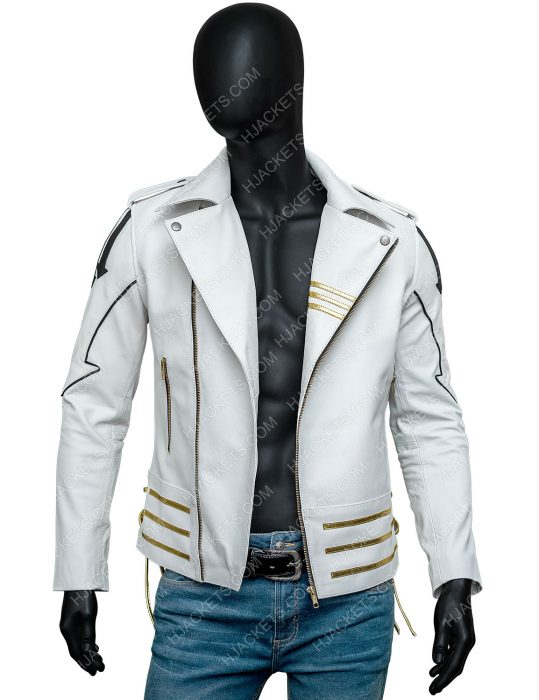 Freddie Mercury Queen White Leather Motorcycle Hot Space Jacket