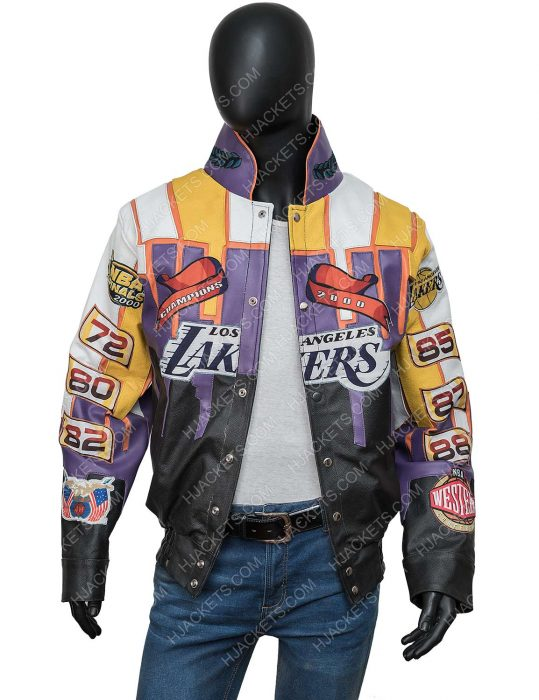 Los Angeles Lakers Jeff Hamilton 2000 Finals NBA Championship Leather Jacket