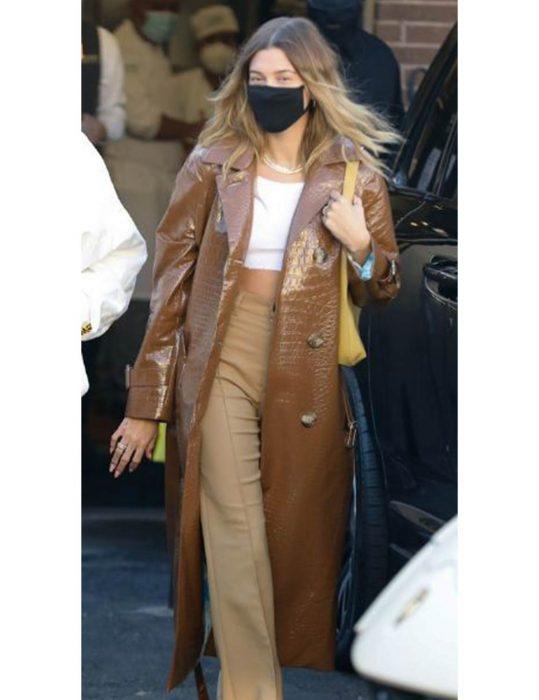 Hailey-Bieber-Leather-Coat