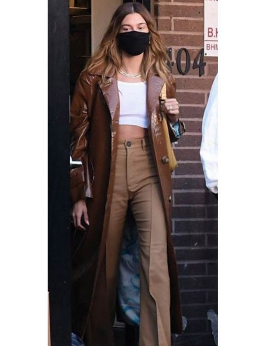 Hailey-Bieber-Leather-trench--Coat
