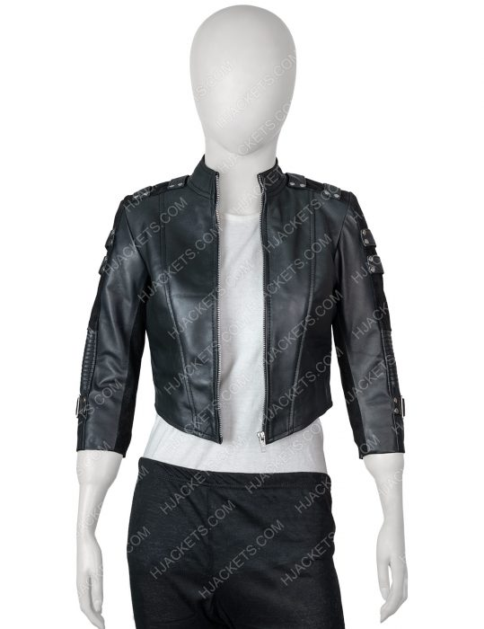 katie cassidy arrow season 2 black canary leather jacket