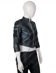 katie cassidy arrow season 2 black leather jacket