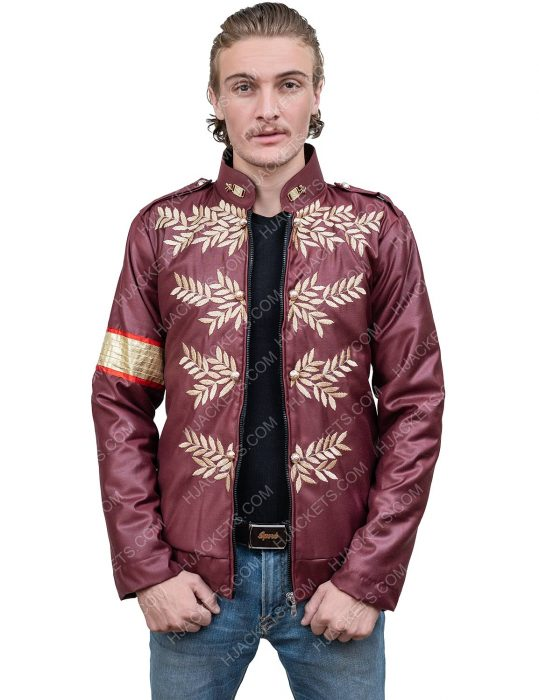 michael jackson maroon military leather jacket