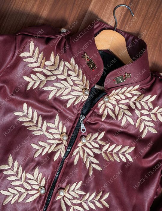 michael jackson military maroon leather jacket