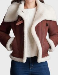 womens brown sheepskin shearling jacket