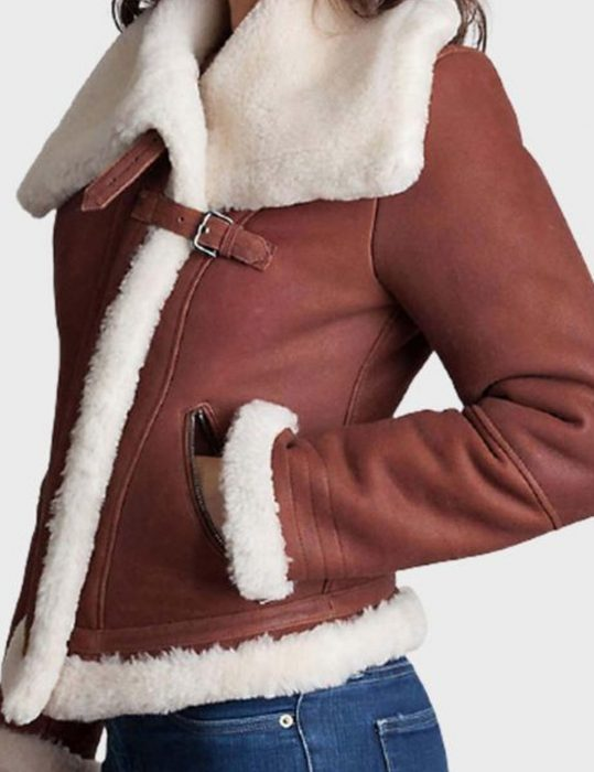 womens brown sheepskin shearling leather jacket