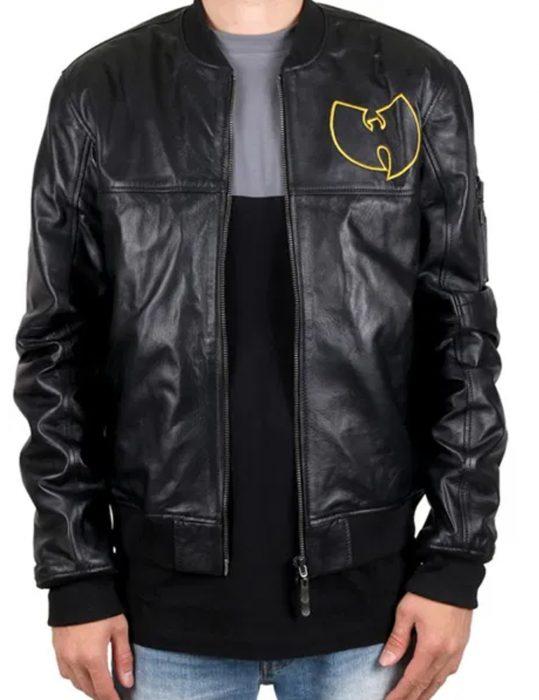 wu tang bomber black leather jacket