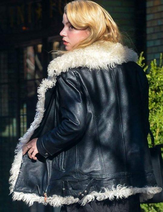 Anya Taylor Joy Black Leather Jacket