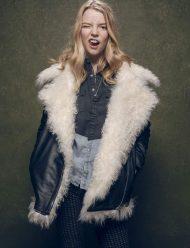 Black Leather Anya Taylor Joy Fur Jacket
