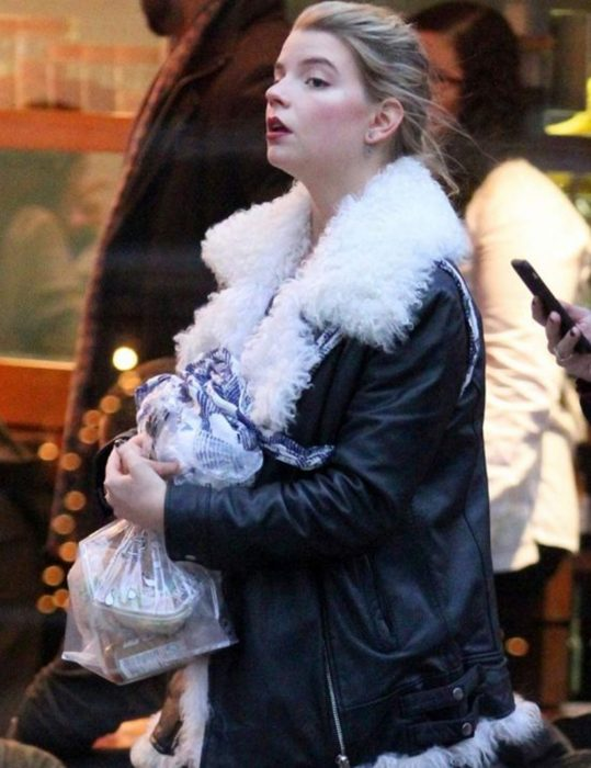 Black Leather Anya Taylor Joy White Fur Jacket