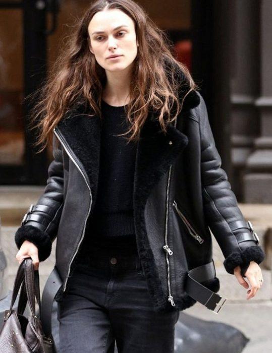 Keira Knightley B3 Black Shearling Leather Jacket