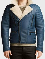 Men's-Blue-Shearling-Leather-Jacket