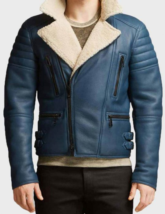 Men's-Blue-Shearling-Leather-Jacket