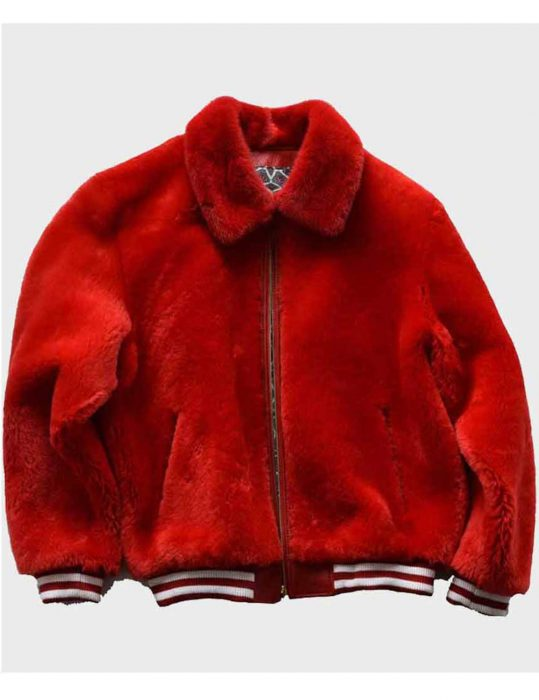 Red-Unisex-Sheep-Fur-Shearling-Bomber-Jacket-For-Winters