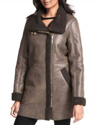 Women's-Asymmetrical-Faux shearlng-trench--Coat