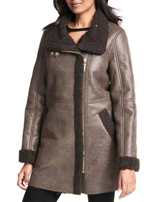 Women's-Asymmetrical-Faux shearlng-trench--Coat