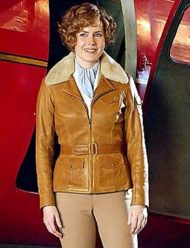 amy adams aviator brown leather jacket