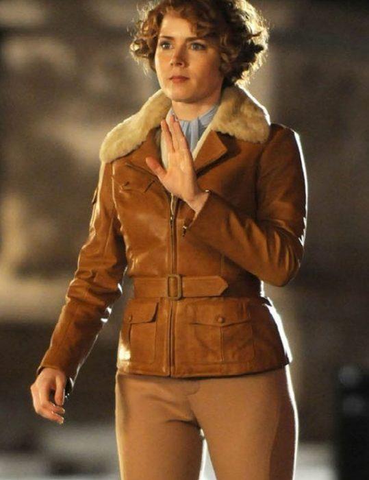 amy adams aviator fur brown leather jacket
