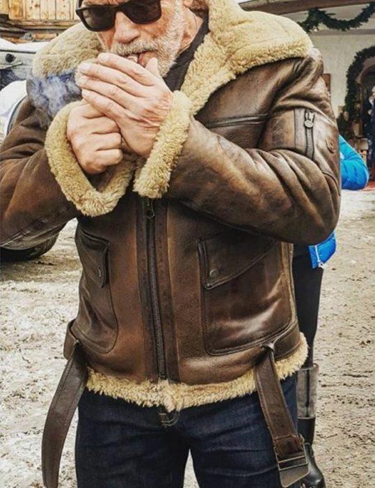 arnold schwarzenegger aviator raf b6 shearling leather bomber flying jacket